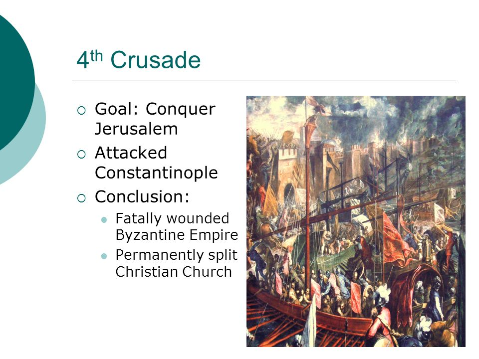 4 th Crusade  Goal: Conquer Jerusalem  Attacked Constantinople  Conclusion: Fatally wounded Byzantine Empire Permanently split Christian Church