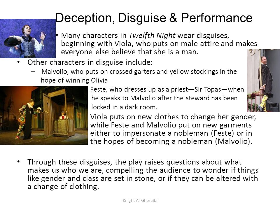 disguises in twelfth night essay Many characters in twelfth night assume disguises shakespeare uses these disguises is to add a twist to the play and make it a little more interesting he uses disguises to cause confusion and internal conflict between the characters, especially with olivia and cesario.