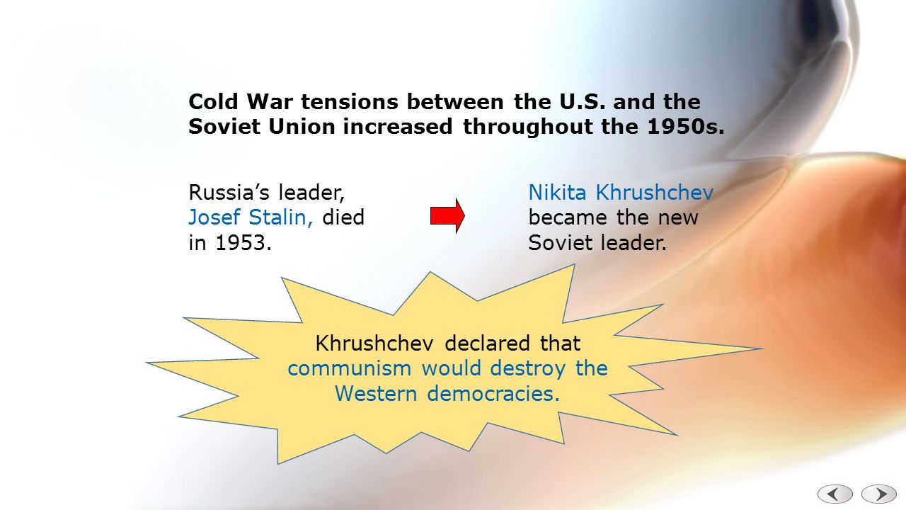 tensions between the us and the The first cause of the tension was the actual creation of the soviet union and the civil war that russia went through during that creation as the soviet union was being created, the united states government opposed the bolsheviks.