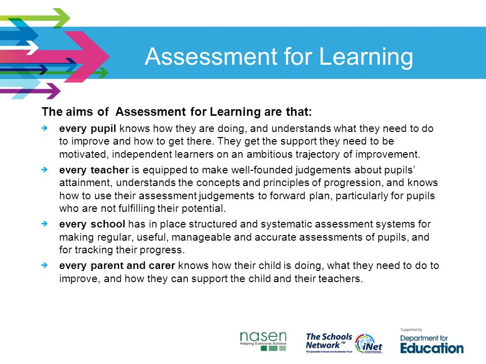 Assessment for Learning The aims of Assessment for Learning are that: every pupil knows how they are doing, and understands what they need to do to improve and how to get there.