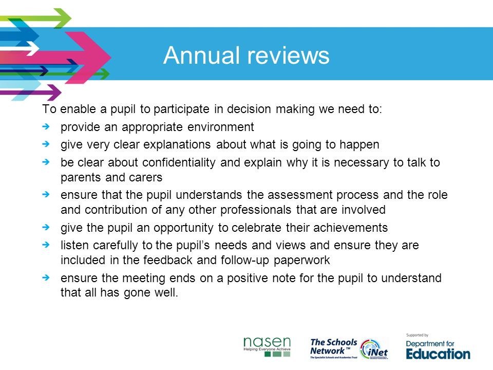 Annual reviews To enable a pupil to participate in decision making we need to: provide an appropriate environment give very clear explanations about what is going to happen be clear about confidentiality and explain why it is necessary to talk to parents and carers ensure that the pupil understands the assessment process and the role and contribution of any other professionals that are involved give the pupil an opportunity to celebrate their achievements listen carefully to the pupil's needs and views and ensure they are included in the feedback and follow-up paperwork ensure the meeting ends on a positive note for the pupil to understand that all has gone well.