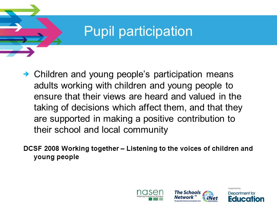 Pupil participation Children and young people's participation means adults working with children and young people to ensure that their views are heard and valued in the taking of decisions which affect them, and that they are supported in making a positive contribution to their school and local community DCSF 2008 Working together – Listening to the voices of children and young people