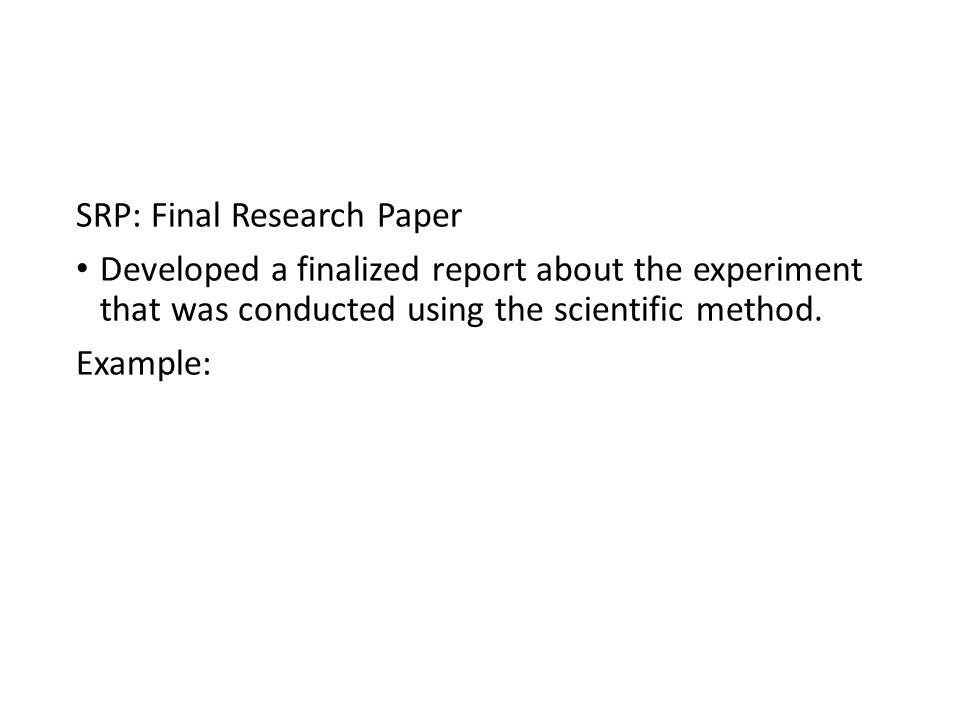 scientific method research papers Scientific method research paper may 17, 2012posted by essay-writerin free essays this part of the paper will be devoted to steps of the forensic scientific method application and it will also include examples of how each step is incorporated into the criminal investigation process.