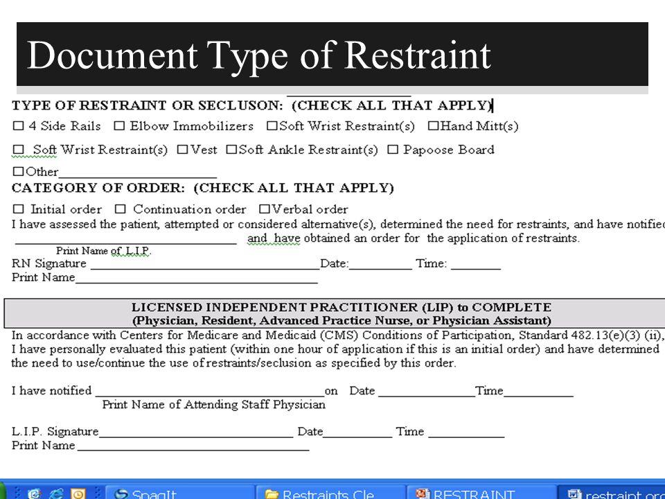 146 Document Type of Restraint