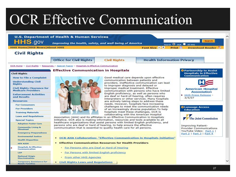 OCR Effective Communication 27