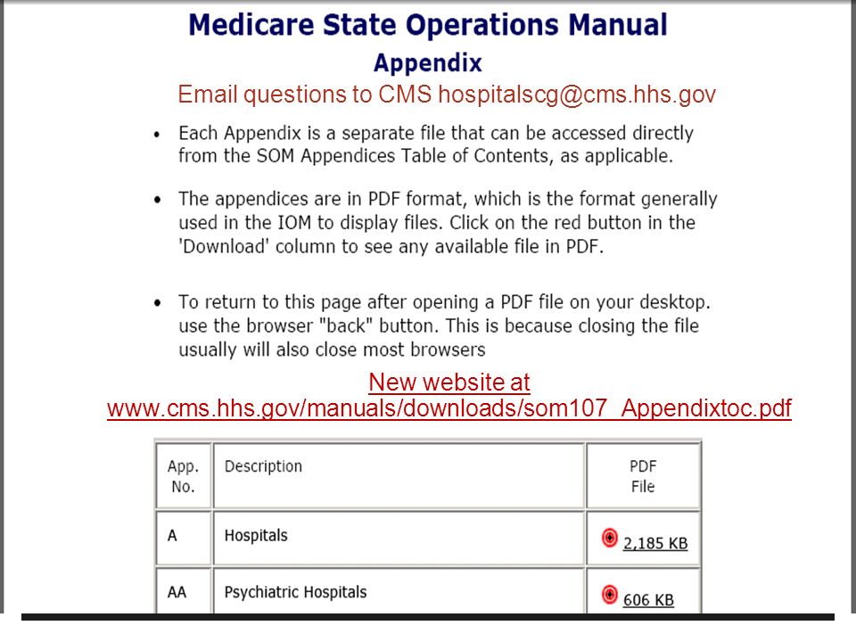 4 New website at www.cms.hhs.gov/manuals/downloads/som107_Appendixtoc.pdf Email questions to CMS hospitalscg@cms.hhs.gov