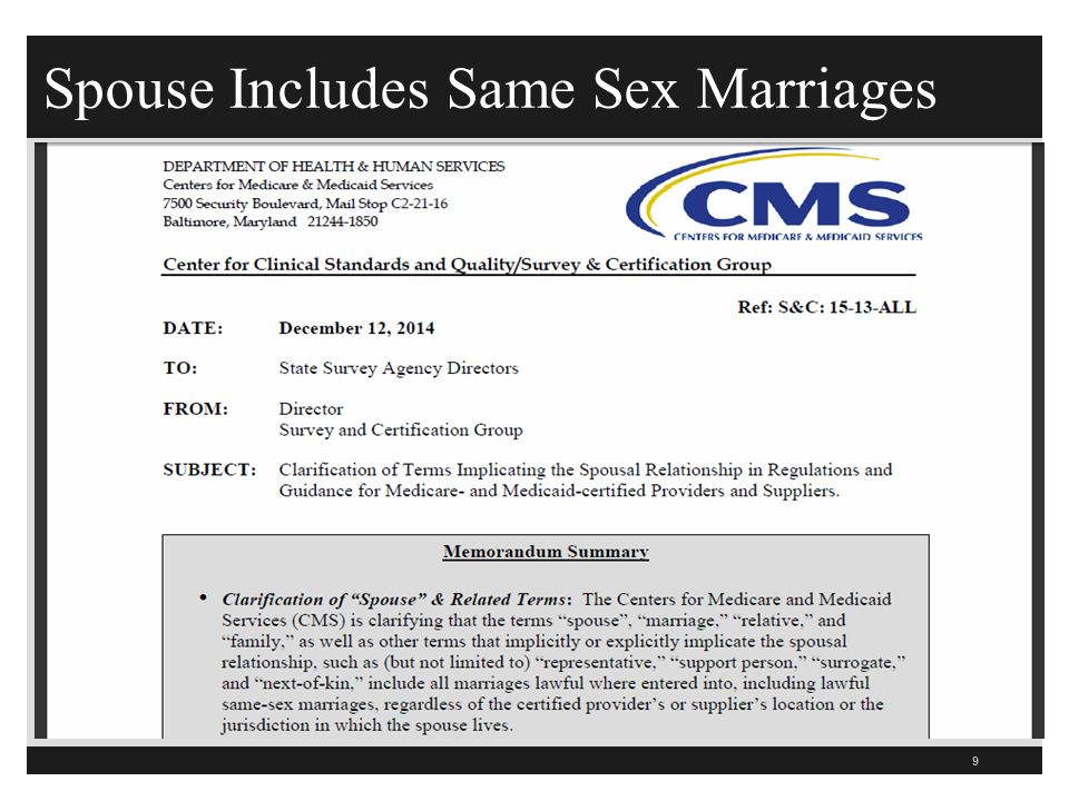 Spouse Includes Same Sex Marriages 9