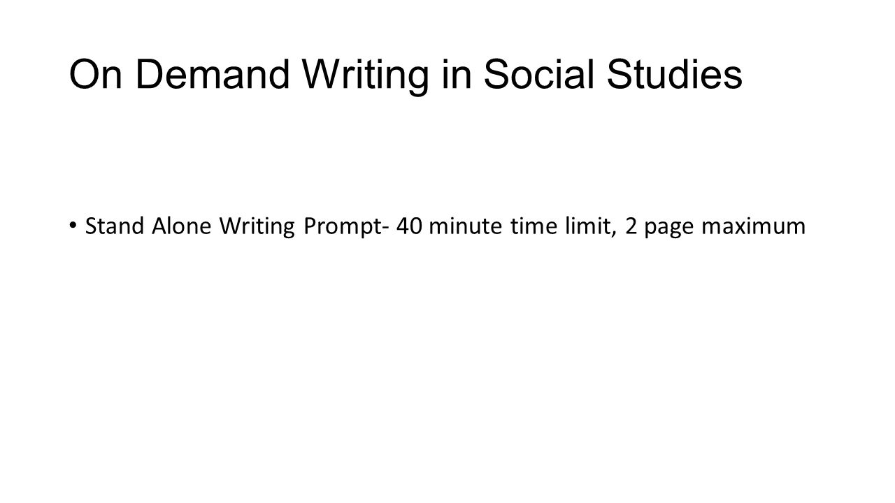 writing prompts for social studies Social studies teachers believe that the pre-writing process must be an important component of the writing process just as ap and sat exams provide for a pre-writing period of 4-5 minutes for essays and 15-20 minutes for a dbq, students must be taught to make pre-writing part of their writing experience.