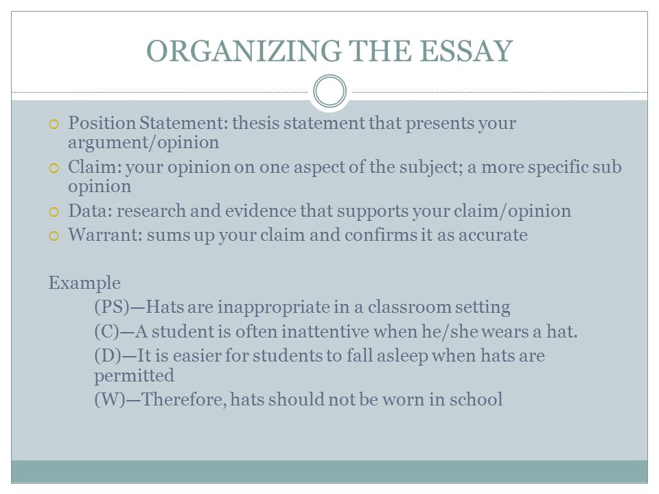 organizing the essay position statement thesis statement that presents your argumentopinion - Toulmin Analysis Essay Example