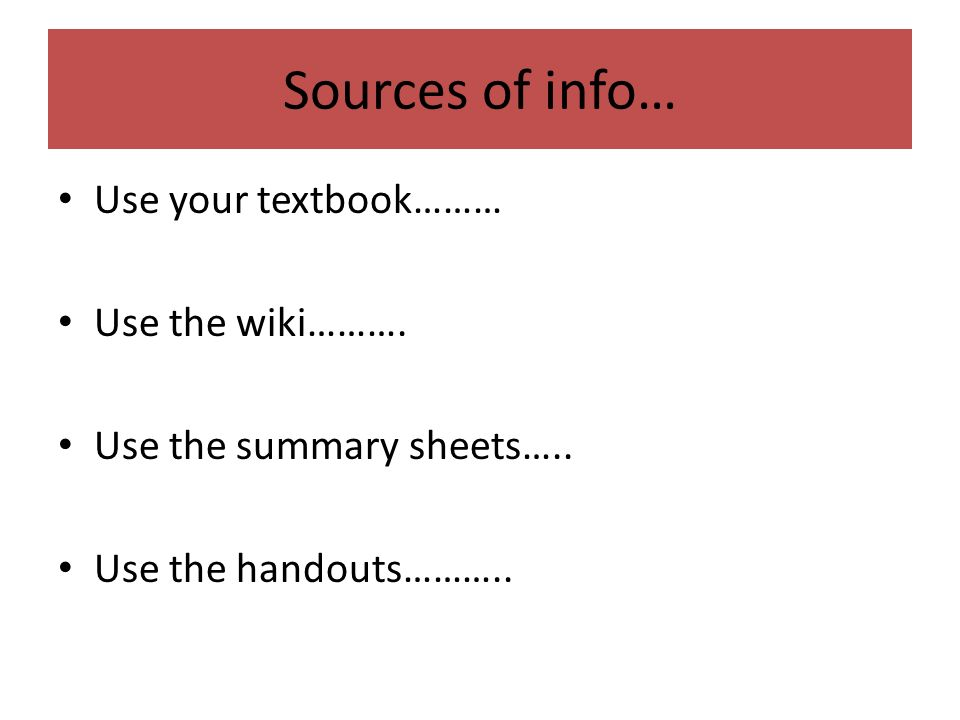 Sources of Info for paper?
