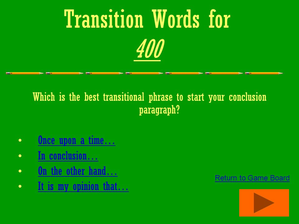 transition words for essays to start a paragraph