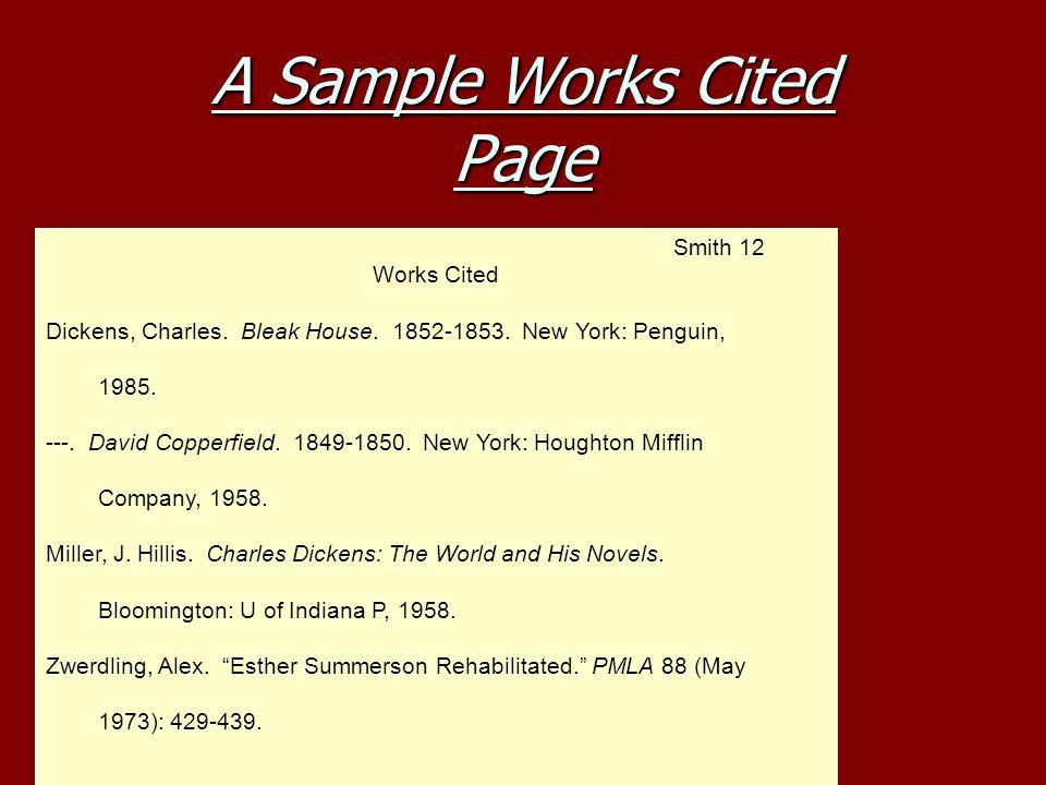 works cited page for websites