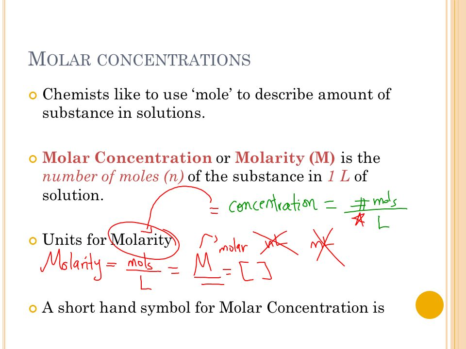 mole and molar concentration In chemistry, the mole fraction or molar fraction (x i) is defined as the amount of a constituent (expressed in moles) molar concentration.