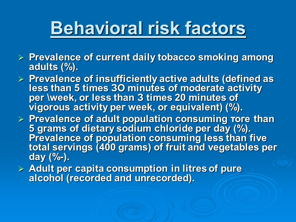 Behavioral risk factors  Prevalence of current daily tobacco smoking among  adults (%).