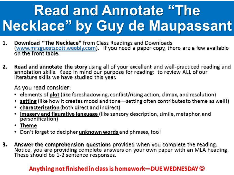 the necklace by guy de maupassant essay questions