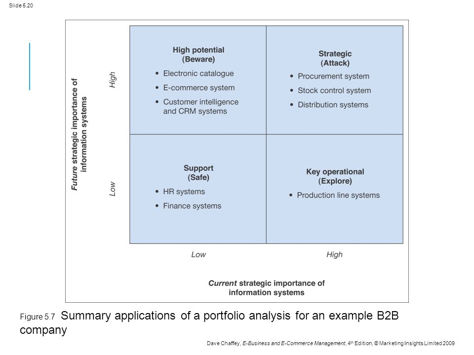 Slide 5.20 Dave Chaffey, E-Business and E-Commerce Management, 4 th Edition, © Marketing Insights Limited 2009 Figure 5.7 Summary applications of a portfolio analysis for an example B2B company