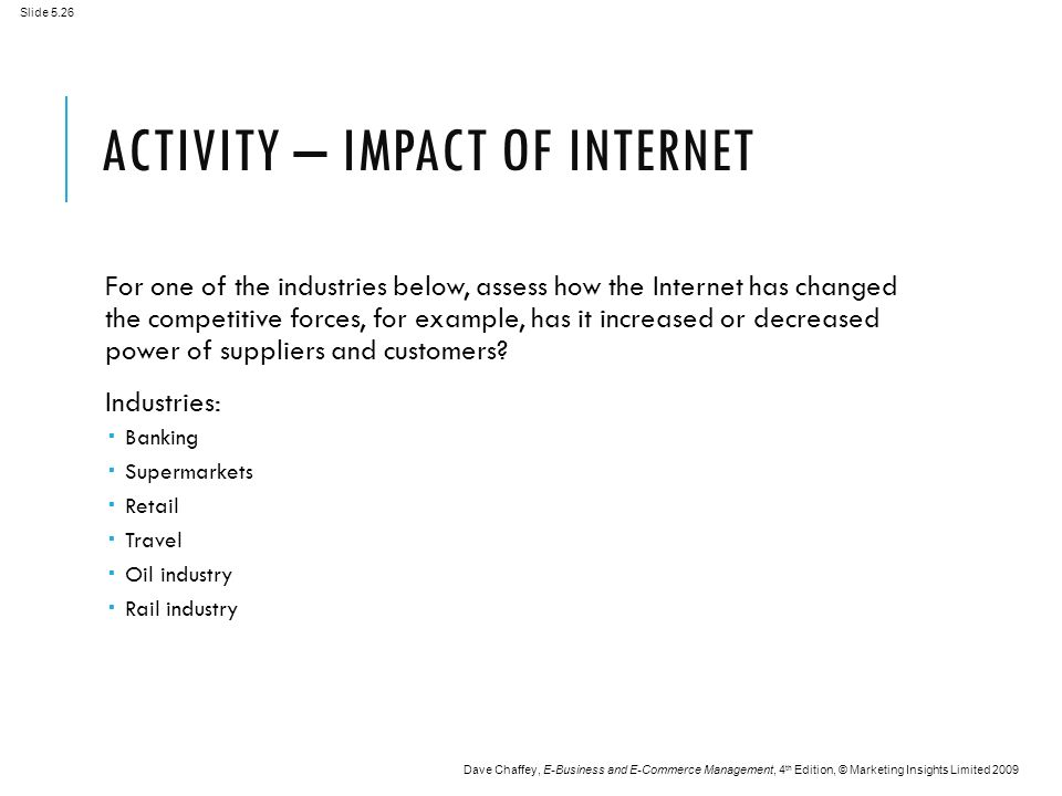 Slide 5.26 Dave Chaffey, E-Business and E-Commerce Management, 4 th Edition, © Marketing Insights Limited 2009 ACTIVITY – IMPACT OF INTERNET For one of the industries below, assess how the Internet has changed the competitive forces, for example, has it increased or decreased power of suppliers and customers.