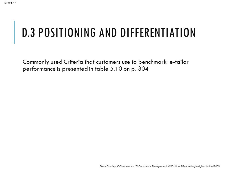 Slide 5.47 Dave Chaffey, E-Business and E-Commerce Management, 4 th Edition, © Marketing Insights Limited 2009 D.3 POSITIONING AND DIFFERENTIATION Commonly used Criteria that customers use to benchmark e-tailor performance is presented in table 5.10 on p.