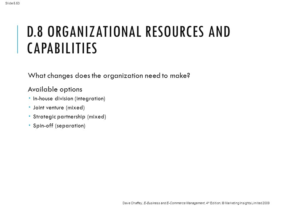 Slide 5.53 Dave Chaffey, E-Business and E-Commerce Management, 4 th Edition, © Marketing Insights Limited 2009 D.8 ORGANIZATIONAL RESOURCES AND CAPABILITIES What changes does the organization need to make.
