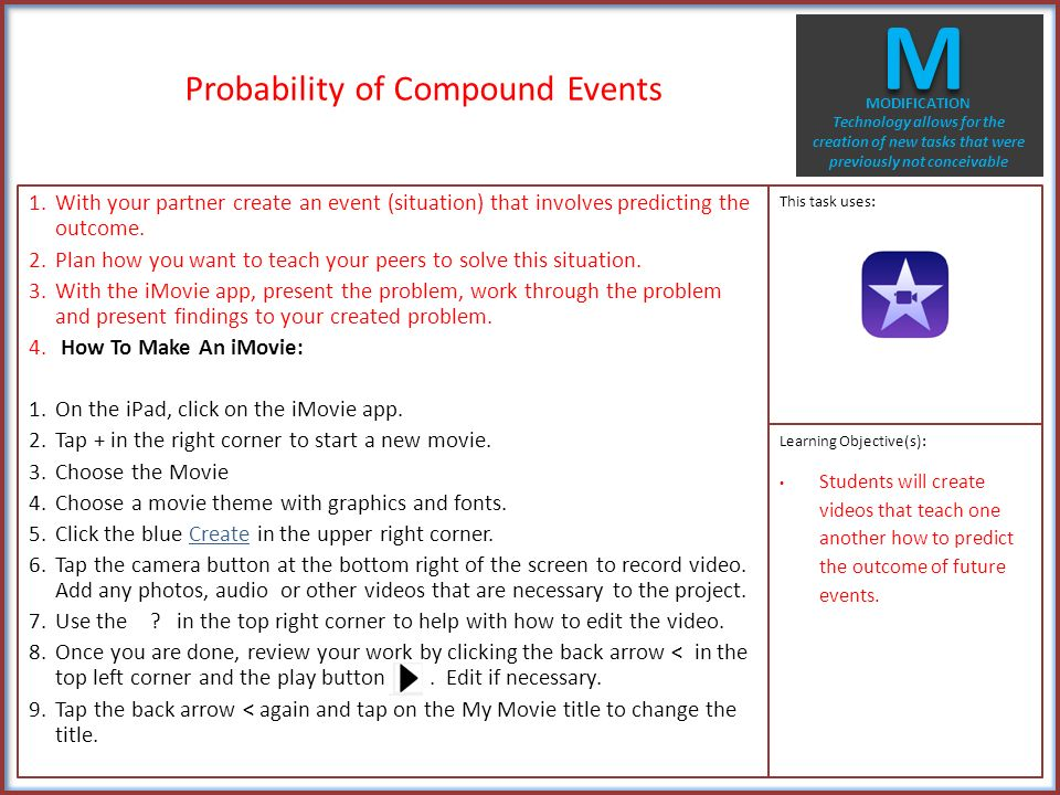 Probability of Compound Events 1 On the iPad go to the Quizlet – Compound Events Probability Worksheet