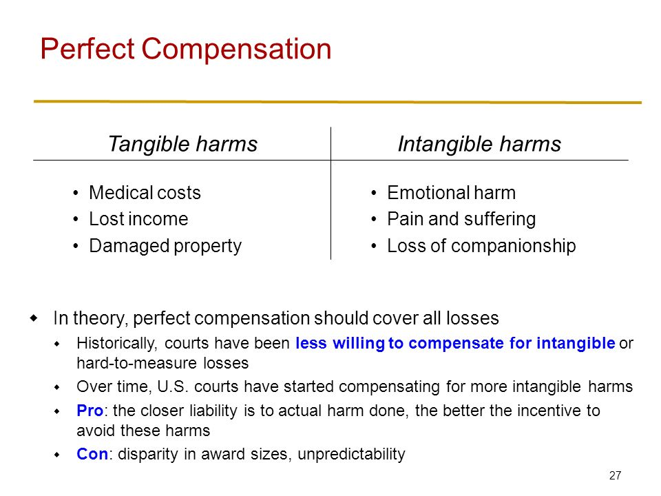 27 Perfect Compensation Emotional harm Pain and suffering Loss of companionship Medical costs Lost income Damaged property Intangible harmsTangible harms  In theory, perfect compensation should cover all losses  Historically, courts have been less willing to compensate for intangible or hard-to-measure losses  Over time, U.S.