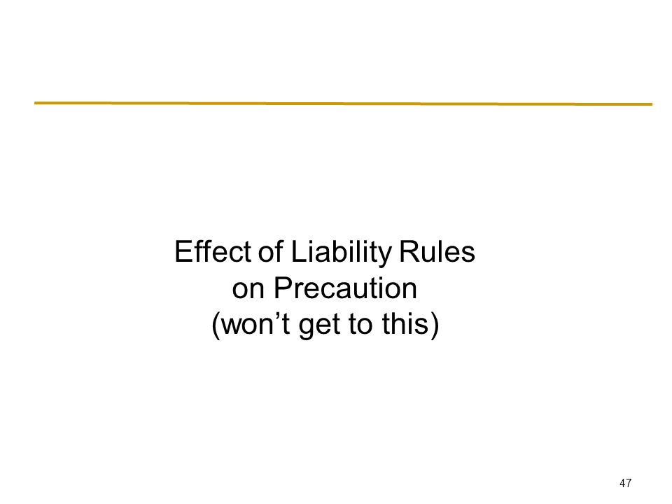 47 Effect of Liability Rules on Precaution (won't get to this)