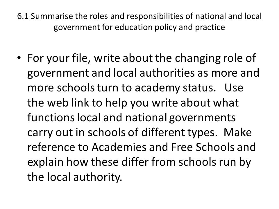 roles and responsibilities of national and local government for education policy and practice