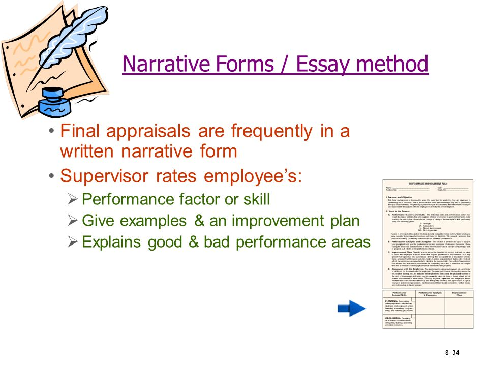 essay writing narrative form The essay should be written from a clear point of view it is quite common for narrative essays to be written from the standpoint of the author however, this is not the sole perspective to be considered creativity in narrative essays often times manifests itself in the form of authorial perspective.