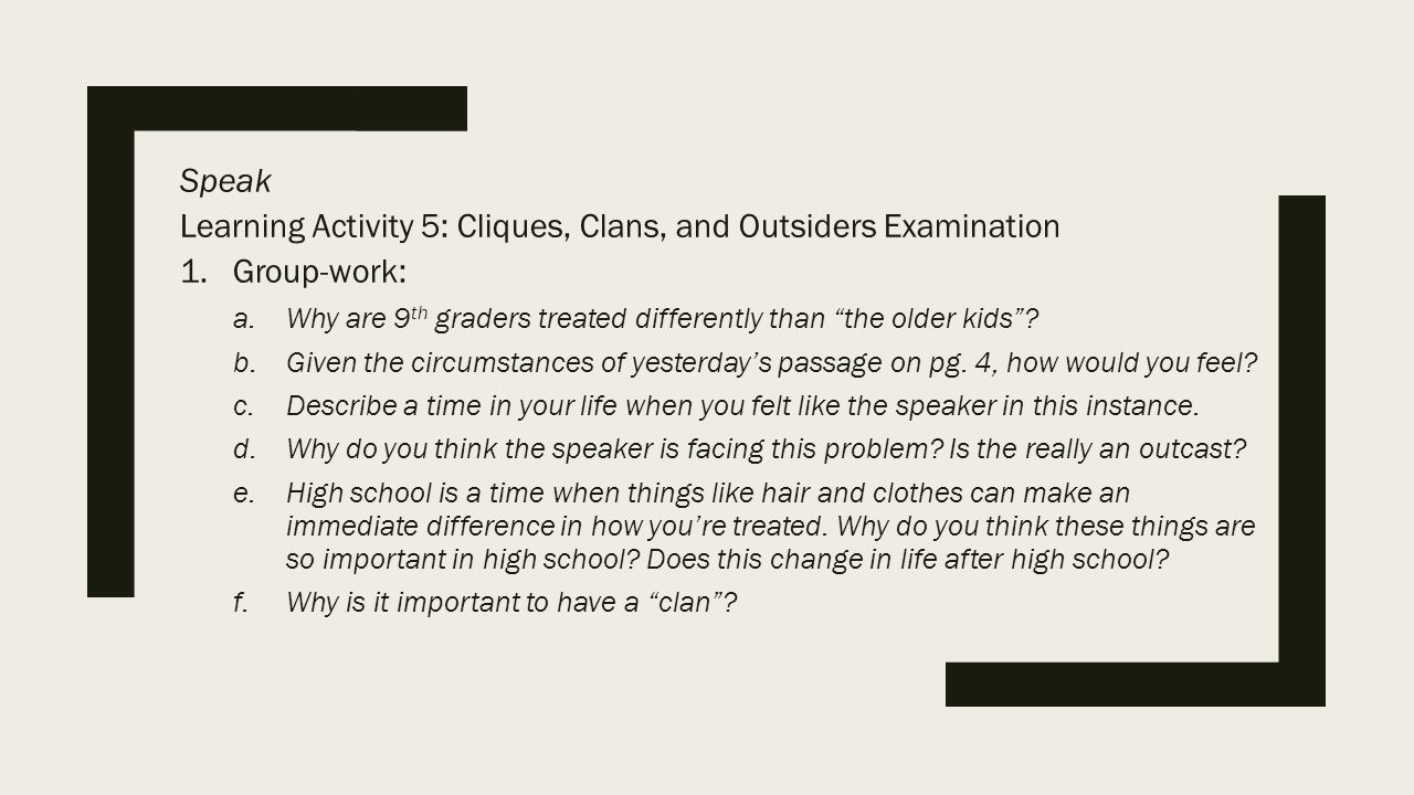 cliques and outsiders essay