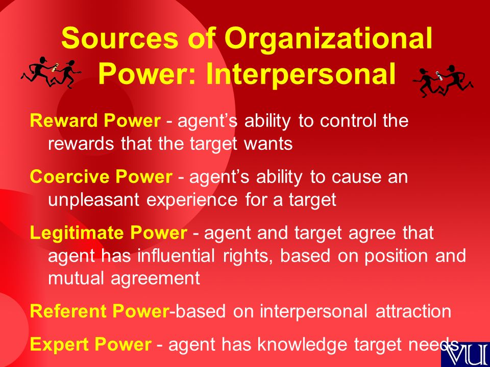 Sources of Organizational Power: Interpersonal Reward Power - agent's ability to control the rewards that the target wants Coercive Power - agent's ab