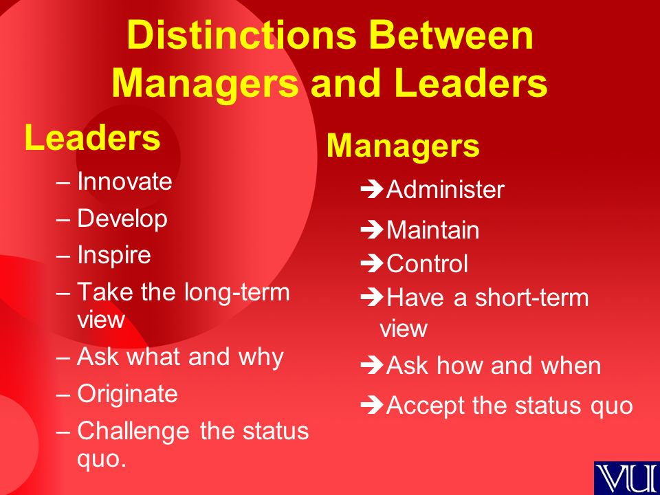 Distinctions Between Managers and Leaders Leaders –Innovate –Develop –Inspire –Take the long-term view –Ask what and why –Originate –Challenge the sta