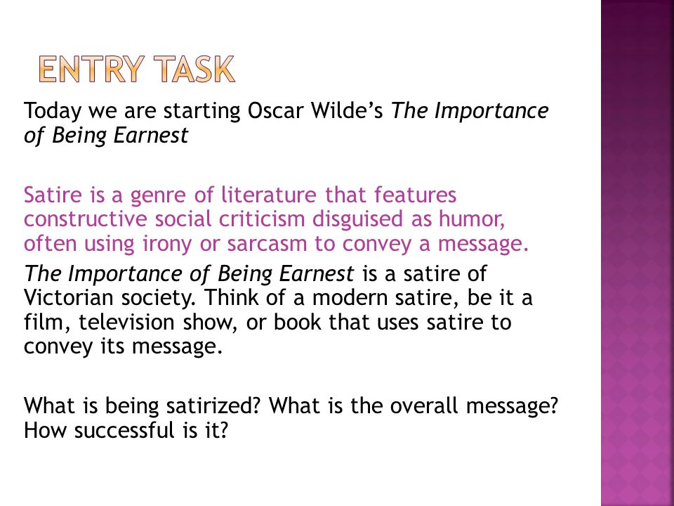 victorian era and the importance of being earnest essay Importance of being earnest by oscar to be a deconstruction of the social norms and morals of the victorian era the essay also argues that the concept.