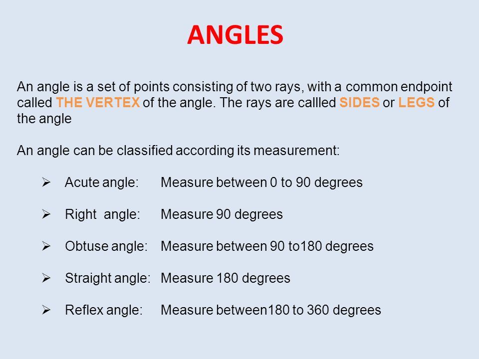 Introduction to Geometry. ANGLES An angle is a set of points ...