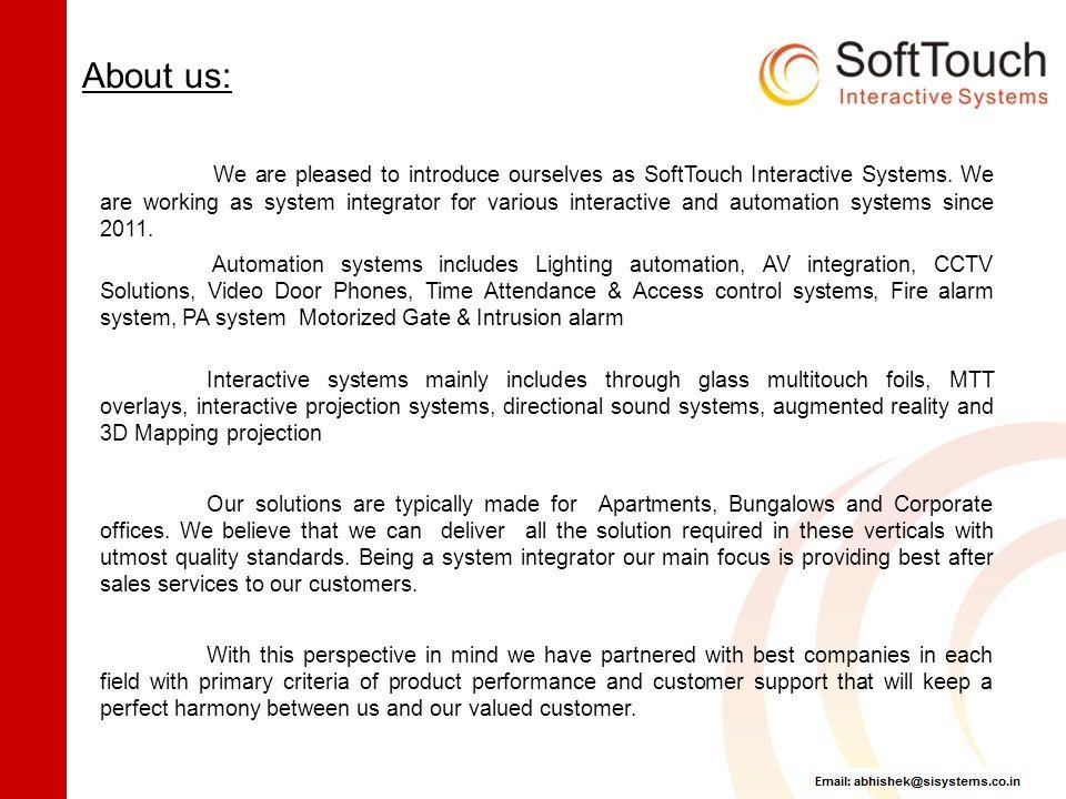 Company Profile & Solution Portfolio SoftTouch Interactive Systems ...