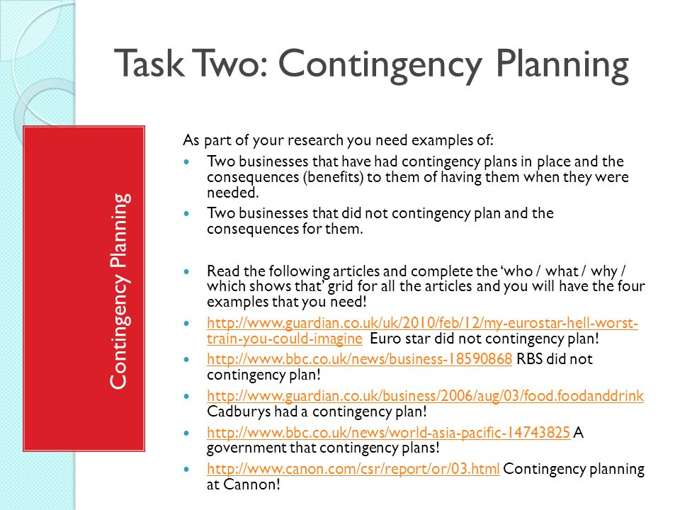 contingency plan example The given example illustrates some basic contingency plan elements and concerns (2018, june 29) example of a business contingency plan small business - chroncom.