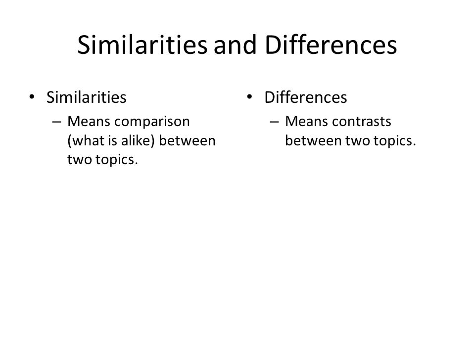 explore the similarities and differences in