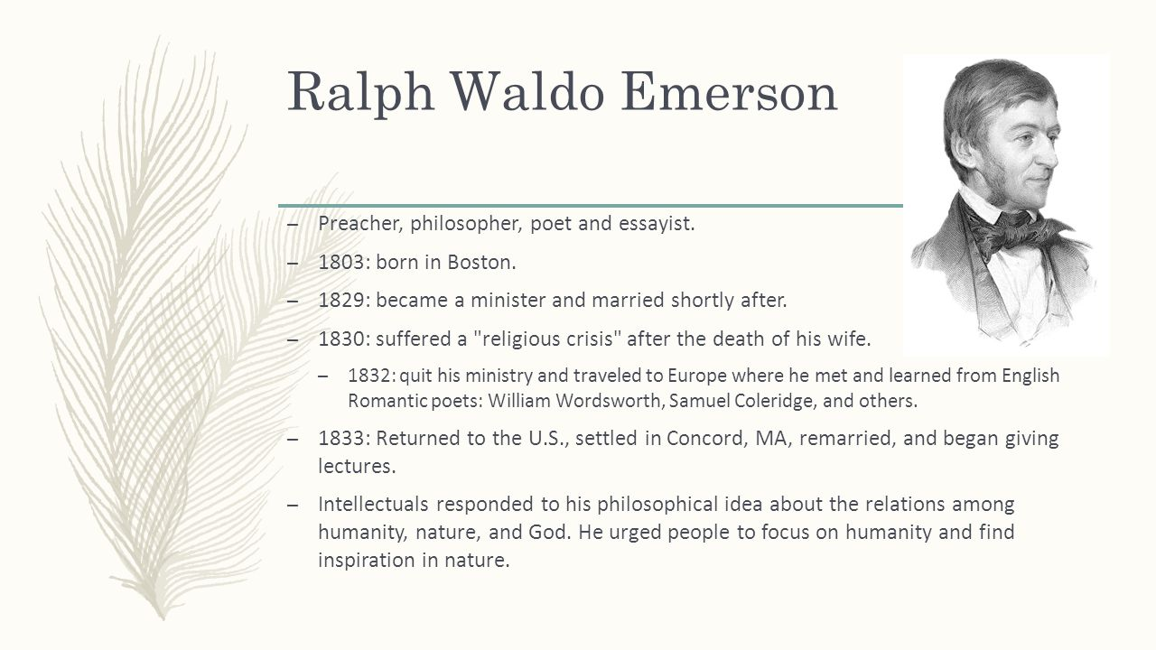 a discussion of transcendental ideas of ralph waldo emerson