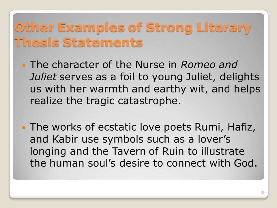literary analysis thesis examples Dr obermeier's sample paper files original thought and analysis, clear organization and thesis chaucer's presentation of women as literary characters.