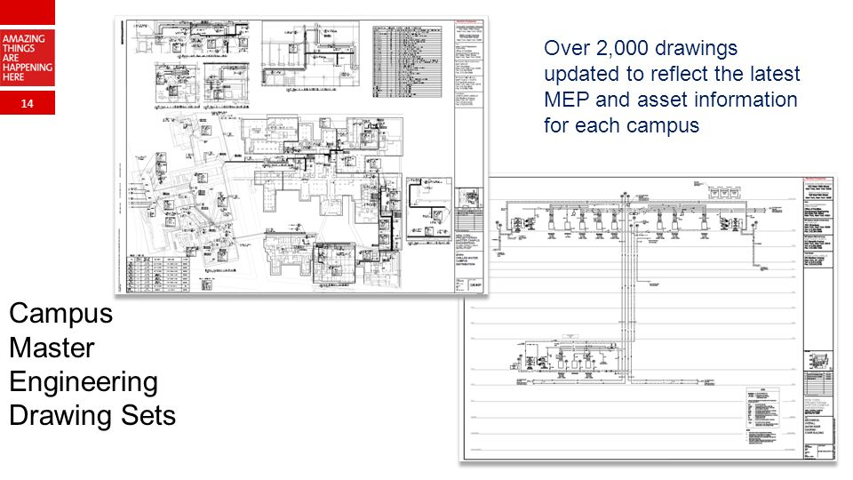 14 Campus Master Engineering Drawing Sets Over 2,000 drawings updated to reflect the latest MEP and asset information for each campus
