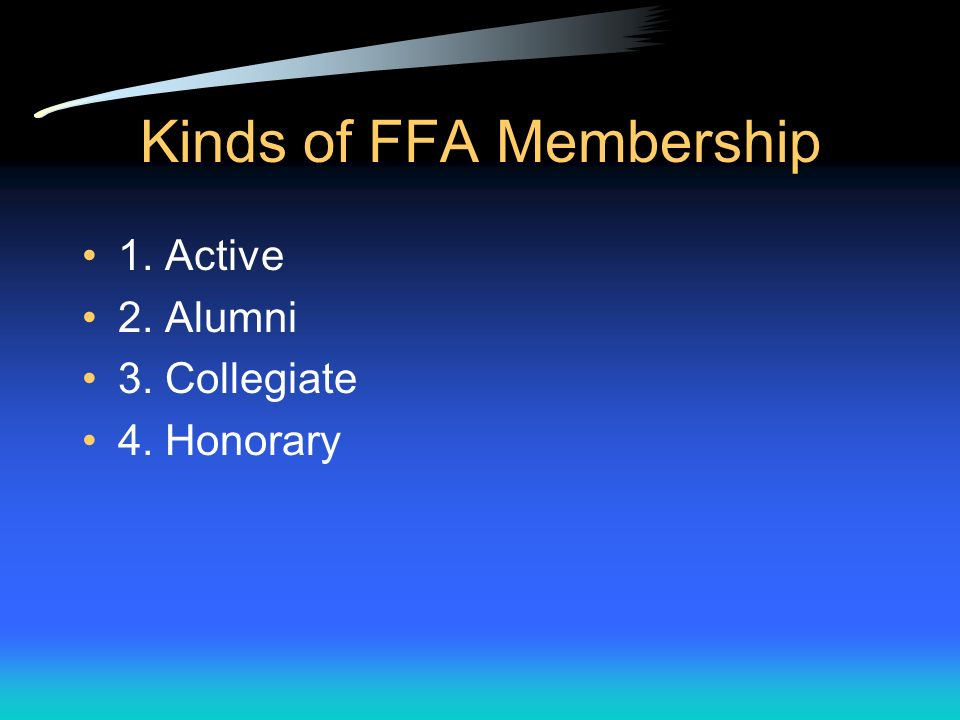 The FFA Purpose Recreation Patriotism Service Character Thrift Leadership Scholarship Improved Agriculture Cooperation Citizenship The purpose of the FFA is to develop: The FFA stresses three closely related areas: leadership, personal growth, and career success.