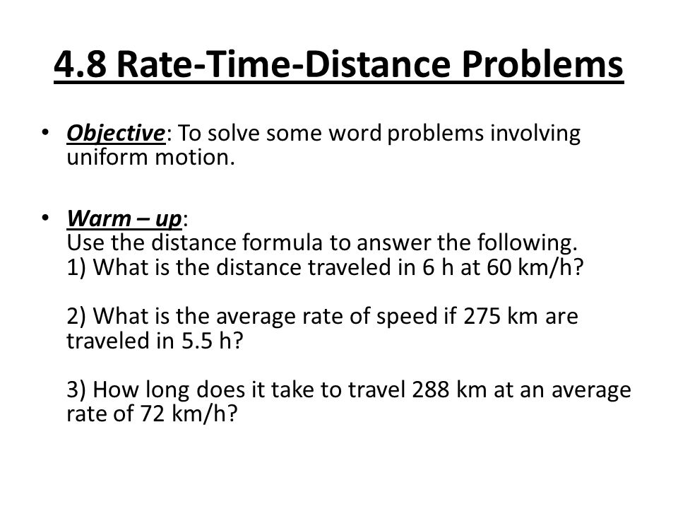 Worksheets Distance Formula Word Problems With Solutions 4 8 rate time distance problems objective to solve some word involving uniform