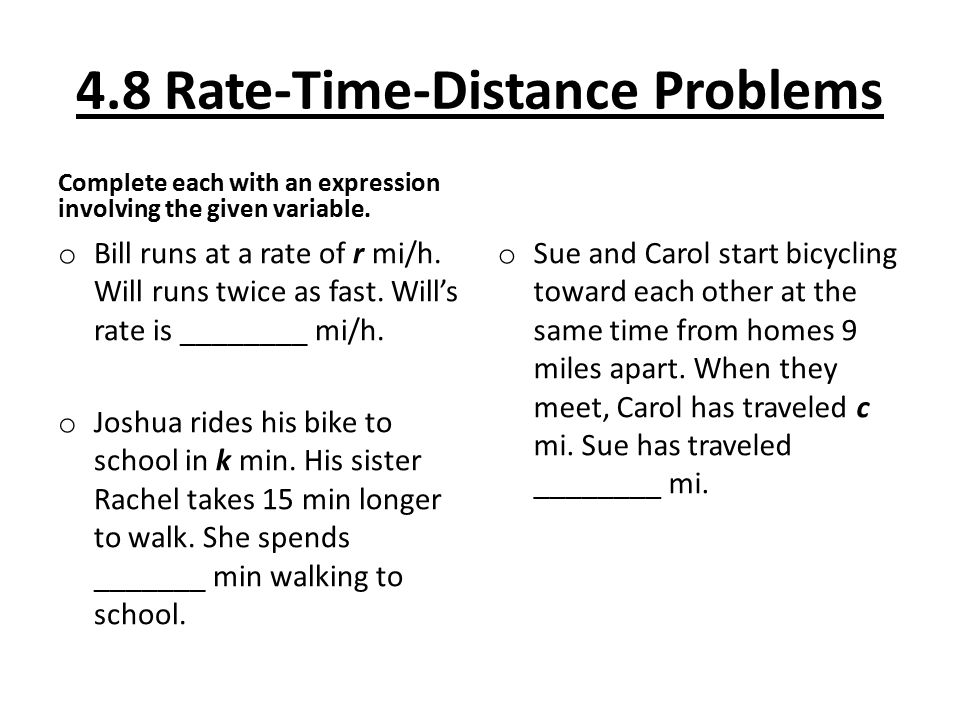 Worksheets Distance Formula Word Problems With Solutions 4 8 rate time distance problems objective to solve some word complete each with an expression involving the given variable