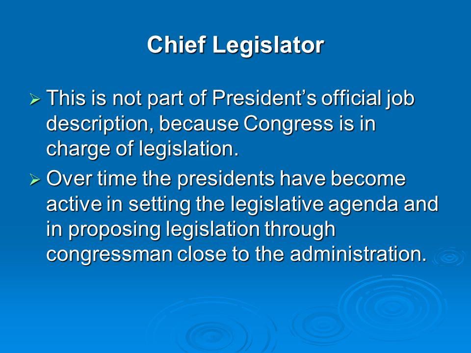 The President Chapter 13. Section 1—The President'S Job