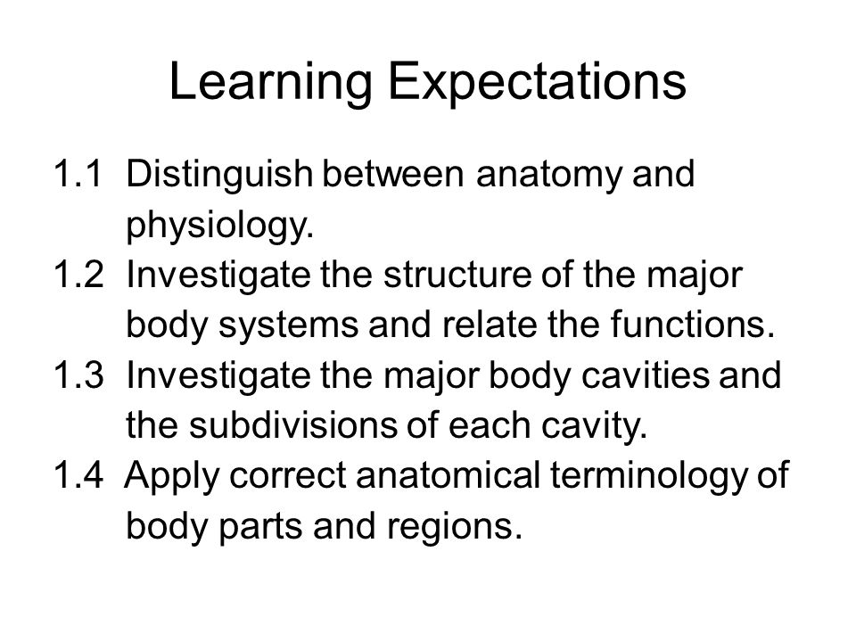 Body Systems. Learning Expectations 1.1 Distinguish between anatomy ...