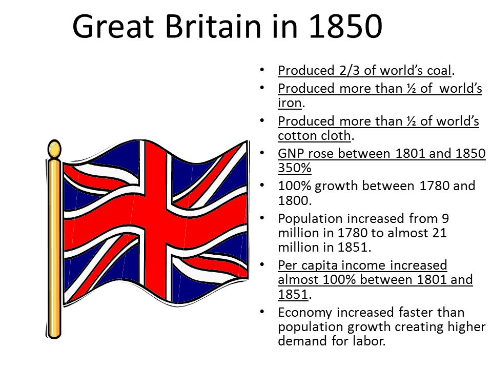 Great Britain in 1850 Produced 2/3 of world's coal.