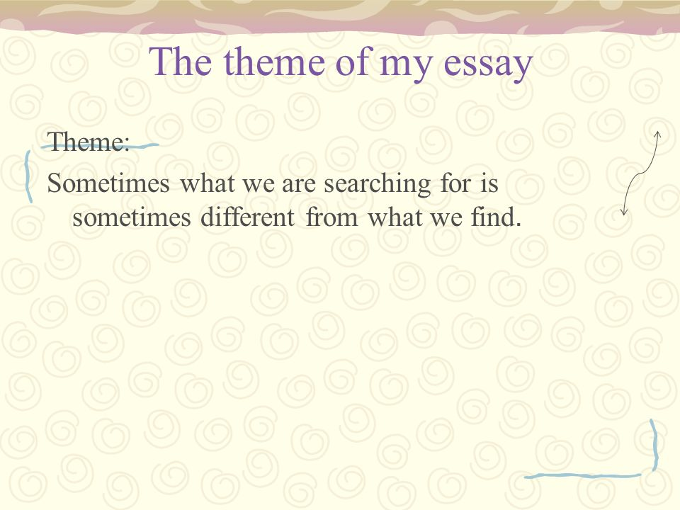I need to find a theme for my essay?