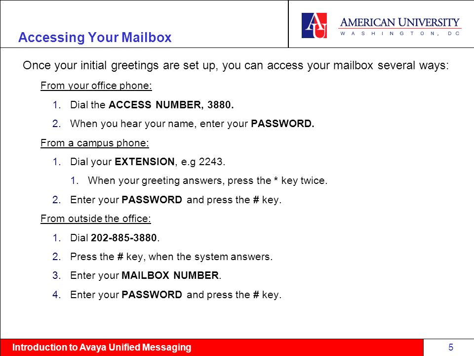 Introduction to avaya unified messaging introduction to american introduction to avaya unified messaging accessing your mailbox once your initial greetings are set up m4hsunfo Gallery