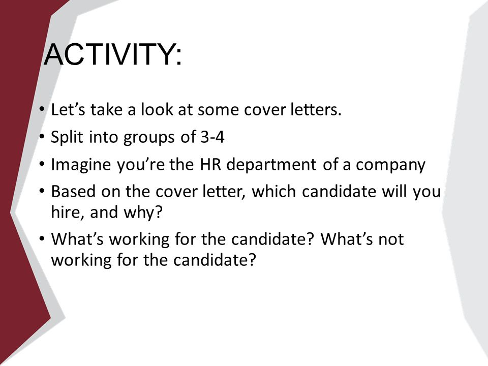 activity lets take a look at some cover letters - Cover Letter To Hr Department