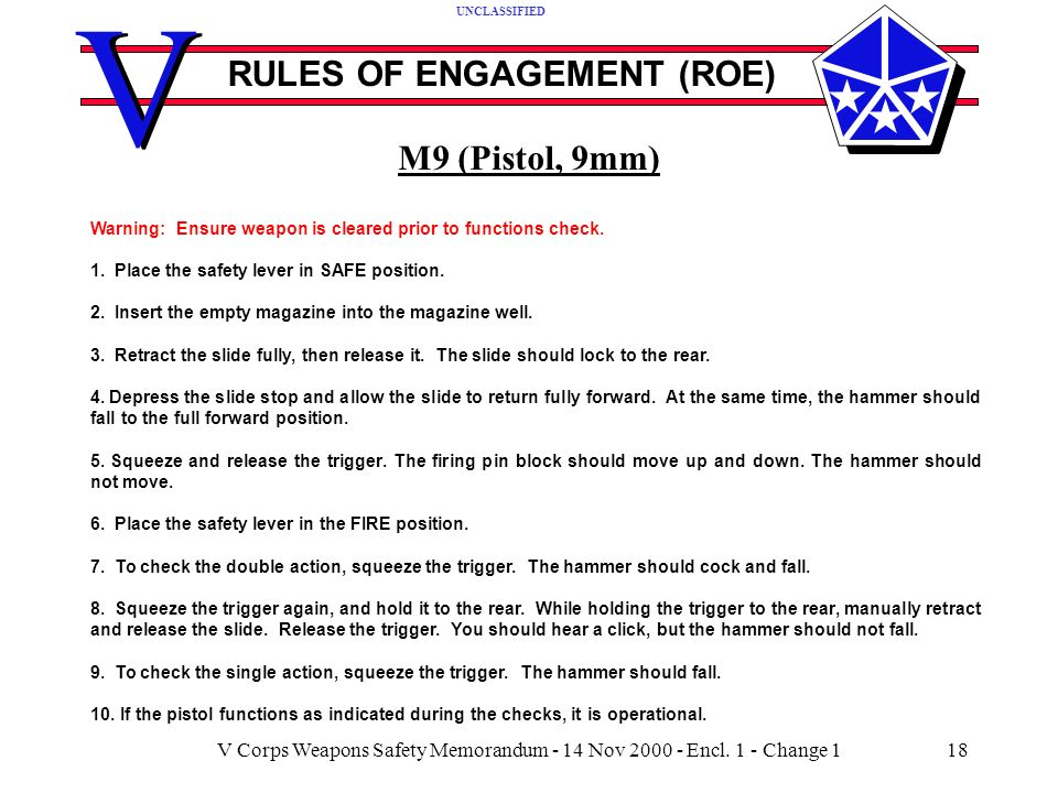 V V RULES OF ENGAGEMENT (ROE) UNCLASSIFIED V Corps Weapons Safety Memorandum - 14 Nov 2000 - Encl.