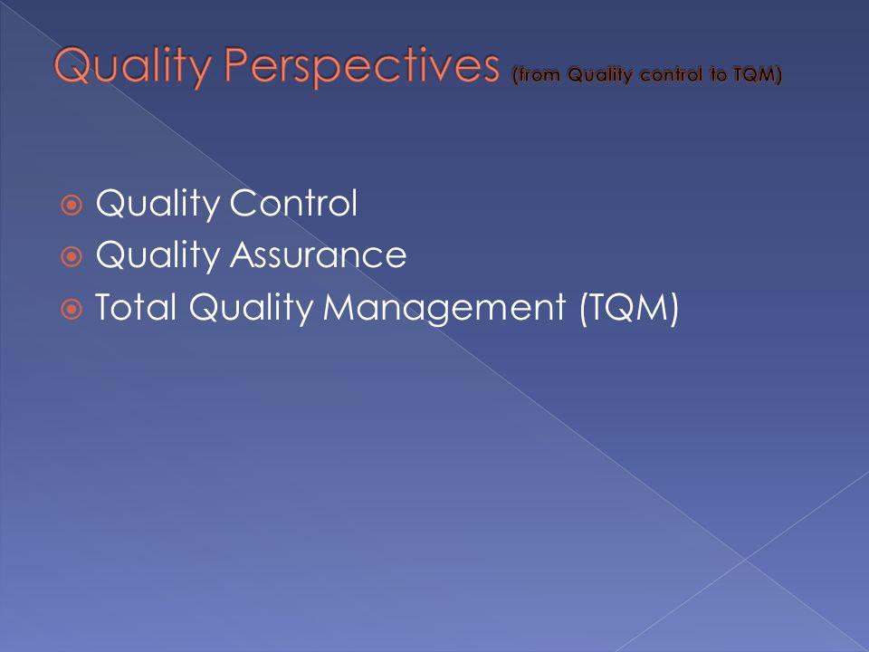  Quality Control  Quality Assurance  Total Quality Management (TQM)